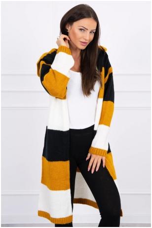 Dryžuotas ilgas megztinis kardiganas MOD447 - juoda+garstyčių+nebalinta drobė