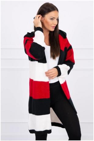 Dryžuotas ilgas megztinis kardiganas MOD447 - raudona+juoda+nebalinta drobė