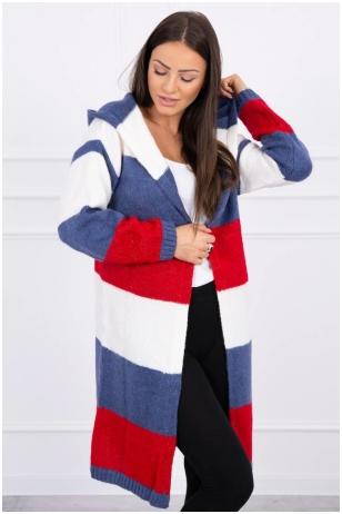 Dryžuotas ilgas megztinis kardiganas MOD447 - nebalinta drobė+džinsinė+raudona