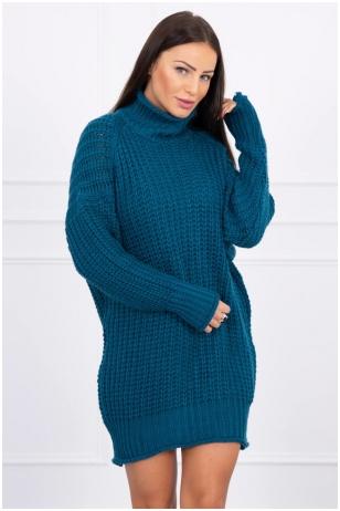 Jūros spalvos ilgas megztinis MOD379