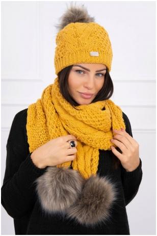 Garstyčių spalvos žieminė kepurė ir šalikas K110