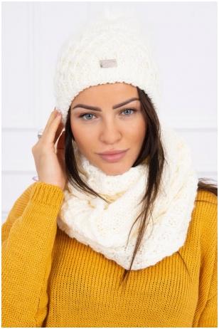 Nebalintos drobės spalvos žieminė kepurė ir šalikas K119