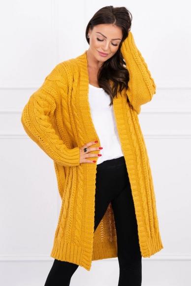 Garstyčių spalvos ilgas megztinis kardiganas MOD441