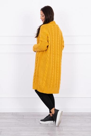 Garstyčių spalvos ilgas megztinis kardiganas MOD441 2