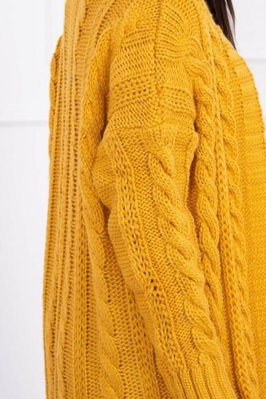 Garstyčių spalvos ilgas megztinis kardiganas MOD441 4