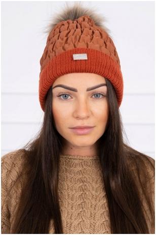 Tamsiai oranžinė žieminė kepurė K160