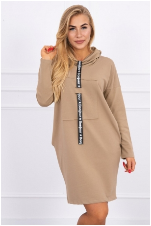 Šviesiai ruda suknelė tunika MOD479