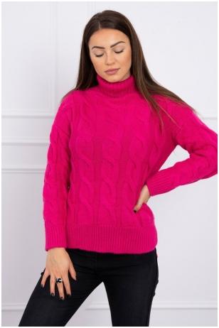 Rožinės spalvos megztinis MOD493