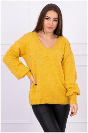 Garstyčių spalvos megztinis MOD501