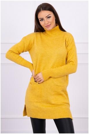 Garstyčių spalvos megztinis MOD498