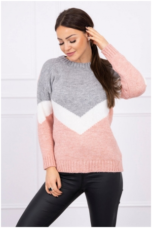 Pilkos ir nude spalvos megztinis MOD499