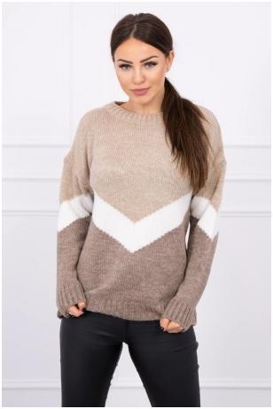Smėlinės ir kapučino spalvos megztinis MOD499