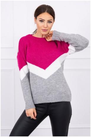 Rožinės ir pilkos spalvos megztinis MOD499