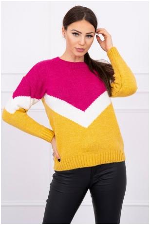 Rožinės ir garstyčių spalvos megztinis MOD499
