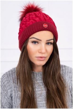 Kaštoninės spalvos žieminė kepurė K160