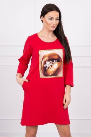 Raudona suknelė MOD537