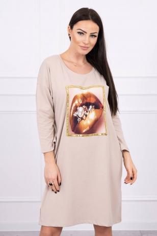 Smėlinės spalvos suknelė MOD537