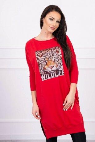 Raudona suknelė MOD554