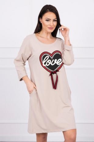 Smėlinės spalvos suknelė MOD555