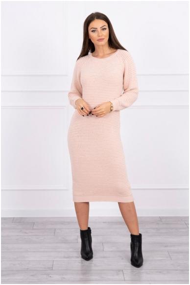 Nude spalvos ilgas megztinis suknelė MOD492