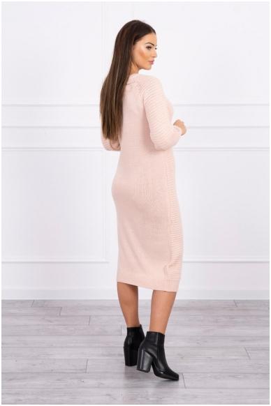 Nude spalvos ilgas megztinis suknelė MOD492 2