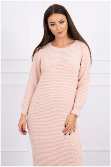 Nude spalvos ilgas megztinis suknelė MOD492 3