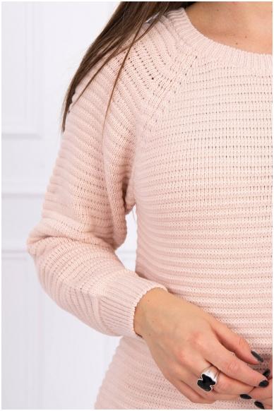 Nude spalvos ilgas megztinis suknelė MOD492 4