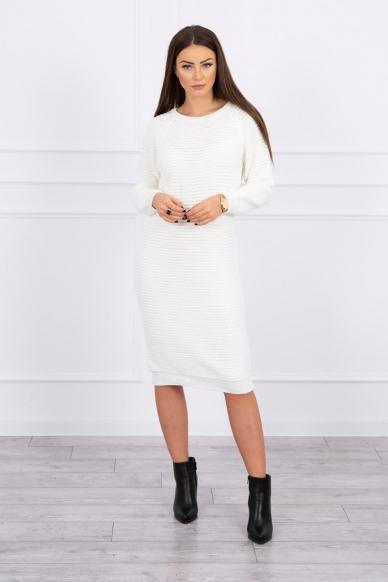 Nebalintos drobės spalvos ilgas megztinis suknelė MOD492