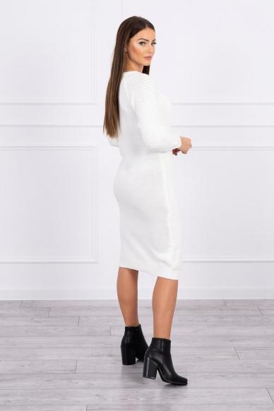 Nebalintos drobės spalvos ilgas megztinis suknelė MOD492 2