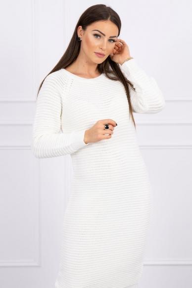 Nebalintos drobės spalvos ilgas megztinis suknelė MOD492 3