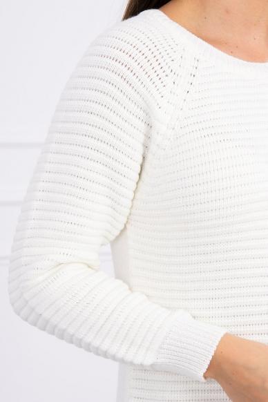Nebalintos drobės spalvos ilgas megztinis suknelė MOD492 4