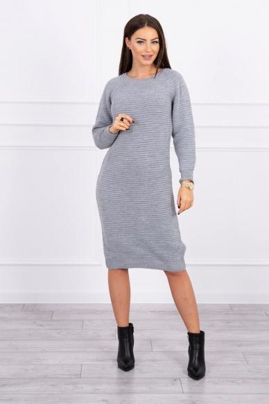 Pilkas ilgas megztinis suknelė MOD492
