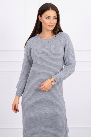 Pilkas ilgas megztinis suknelė MOD492 3