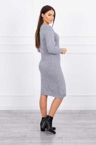 Pilkas ilgas megztinis suknelė MOD492 2