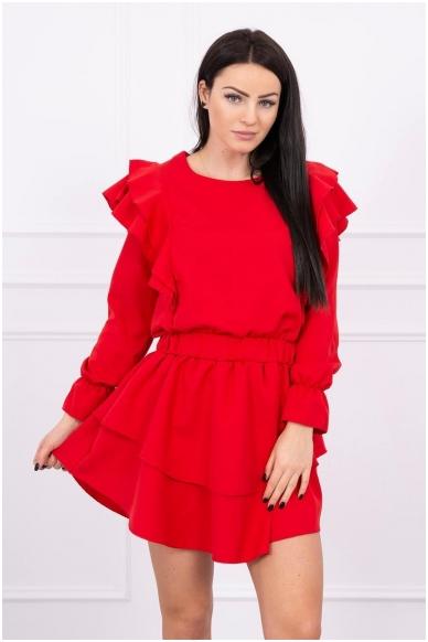 Raudona suknelė MOD486