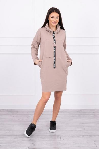 Smėlinės spalvos suknelė tunika MOD479 3
