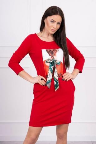 Raudona suknelė MOD543