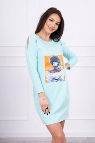 Mėtinės spalvos suknelė MOD550