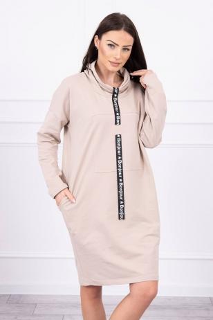 Šviesiai smėlinės spalvos suknelė tunika MOD479