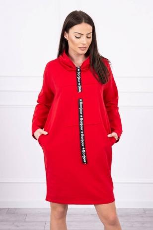Raudona suknelė tunika MOD479