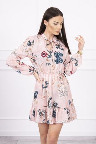 Nude spalvos gėlėta suknelė MOD616