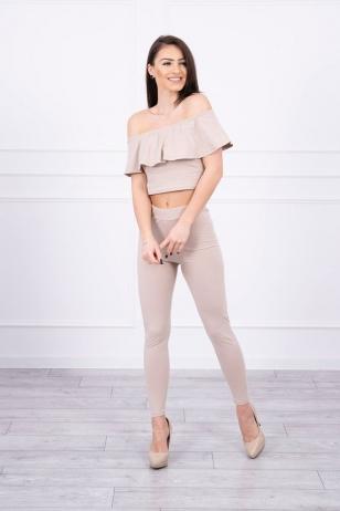 Smėlinės spalvos moteriškas kostiumėlis MOD015
