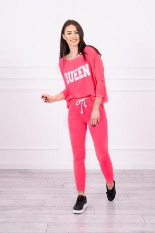 Rožinės neoninės spalvos sportinis kostiumas MOD623
