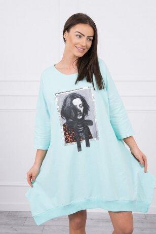 Mėtinės spalvos suknelė tunika MOD461