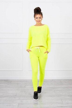 Neoninės geltonos spalvos sportinis kostiumas MOD707