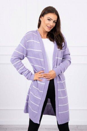Violetinės spalvos ilgas megztinis kardiganas MOD710