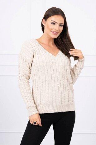 Smėlinės spalvos megztinis MOD484