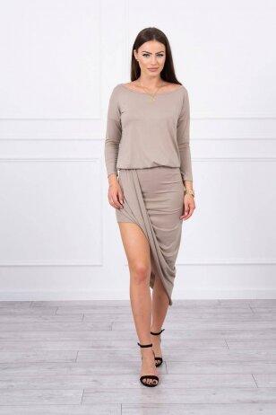 Tamsiai smėlinės spalvos suknelė MOD013