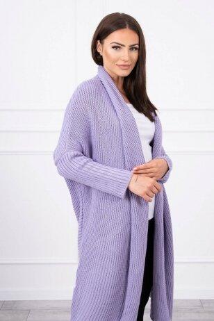 Violetinės spalvos ilgas megztinis kardiganas MOD319