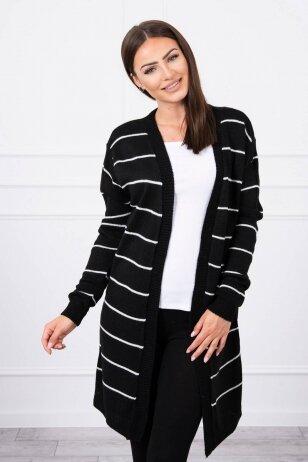 Juodas ilgas megztinis kardiganas MOD710